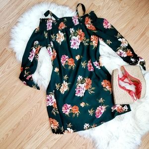 AUW Forest Green Floral Dress